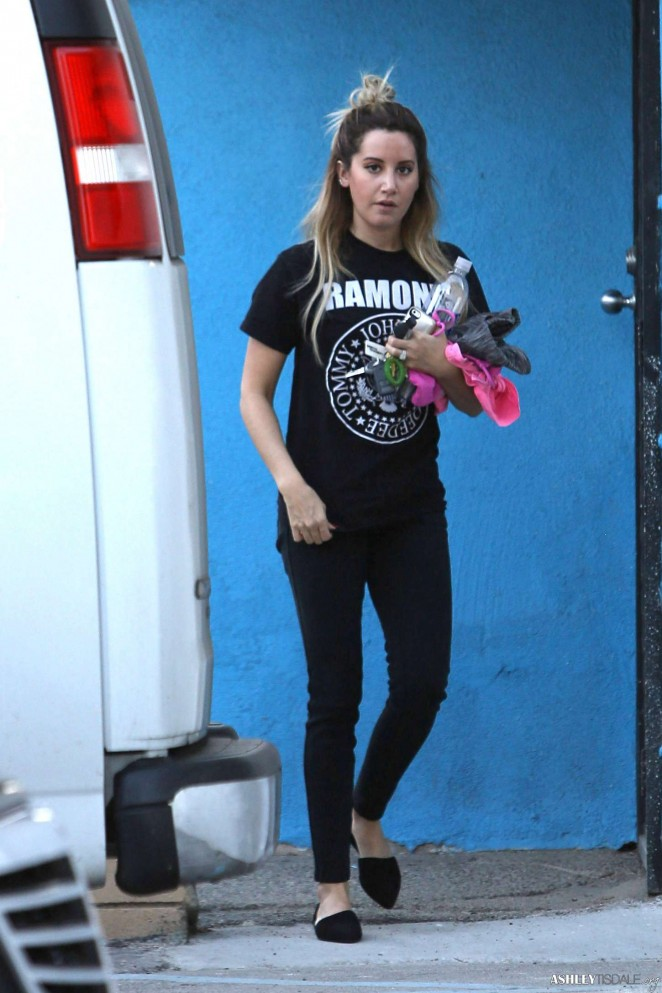 Ashley Tisdale in Tights Arriving at Pilates Class in Studio City