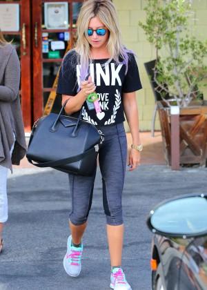 Ashley Tisdale in Leggings at Coral Tree Cafe in LA