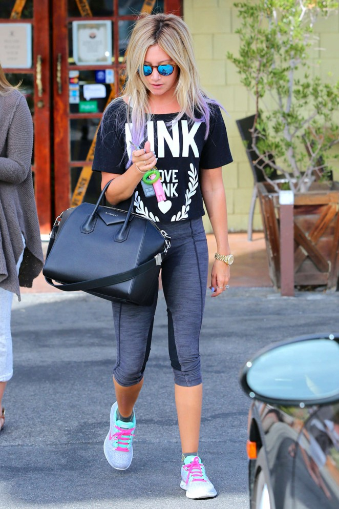 Ashley Tisdale in Leggings at Coral Tree Cafe in LA