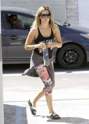 Ashley Tisdale in Tight Leggings Goes to Her Pilates Class in Studio City