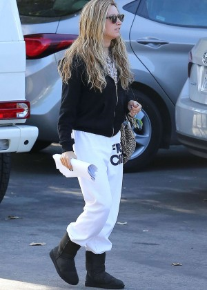 Ashley Tisdale in White Sweats Out in LA
