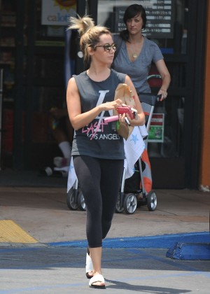 Ashley Tisdale in Spandex Leaving a Rite Aid in LA