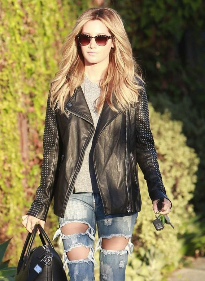 Ashley Tisdale in Ripped Jeans Leaving Andy LeCompte Salon in West Hollywood