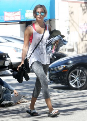 Ashley Tisdale In tights Leaving Pilates Class in LA
