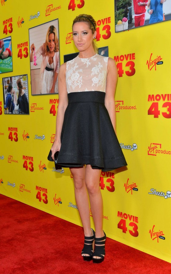 Ashley Tisdale Show Legs at Movie 43 premiere in Hollywood