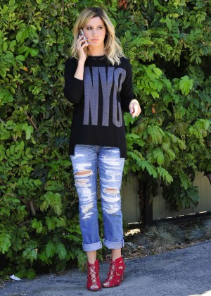 Ashley Tisdale in Ripped Jeans Outside of a restaurant in LA