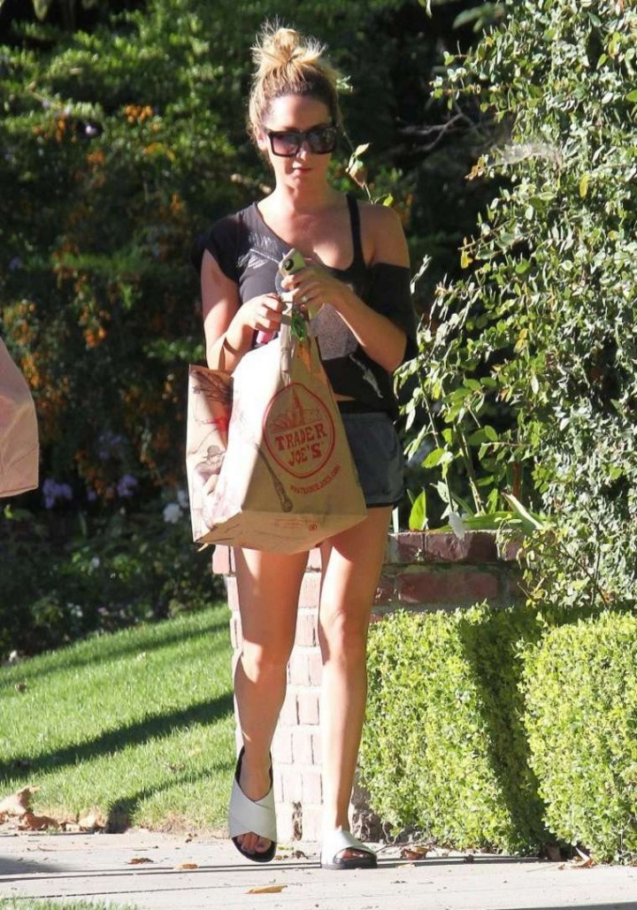 Ashley Tisdale in Shorts Returns home in Toluca Lake