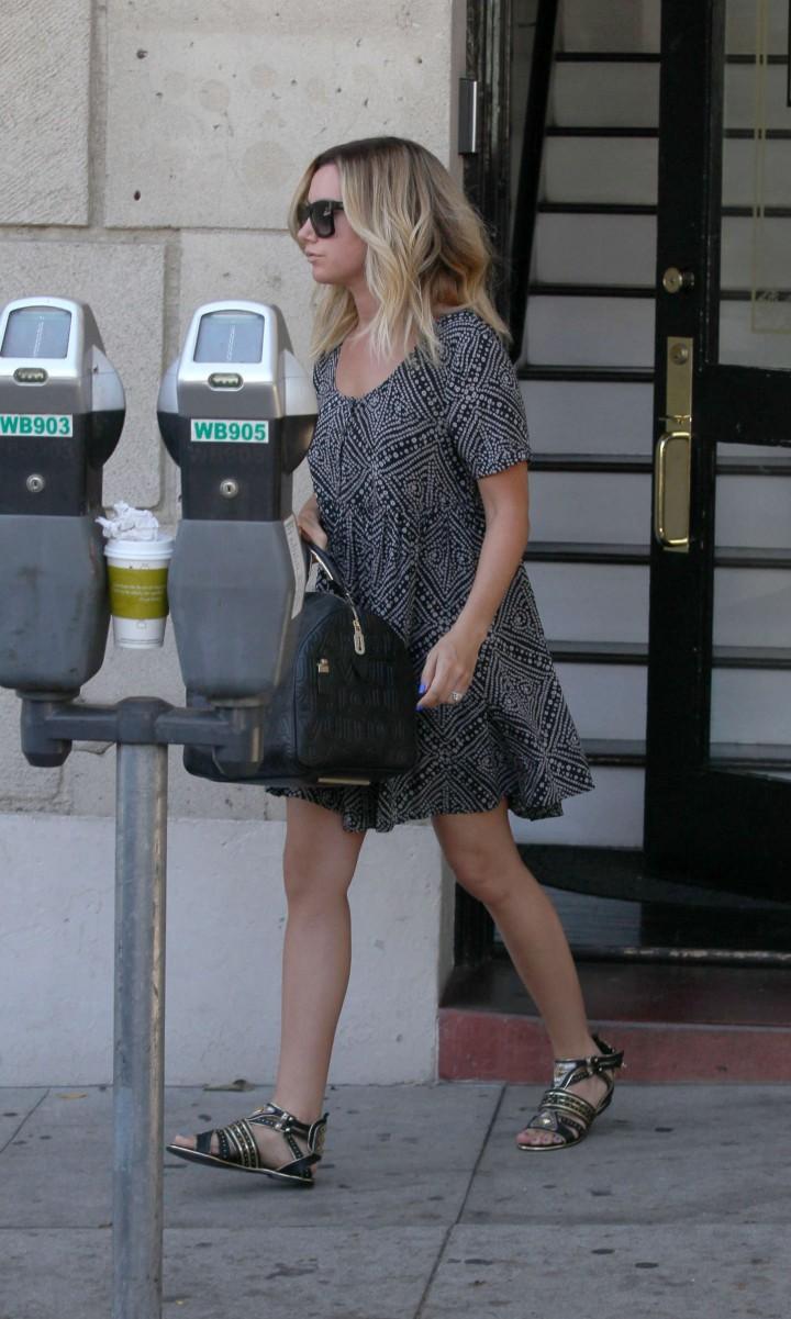 Ashley Tisdale in Mini Dress - Running Errands in LA