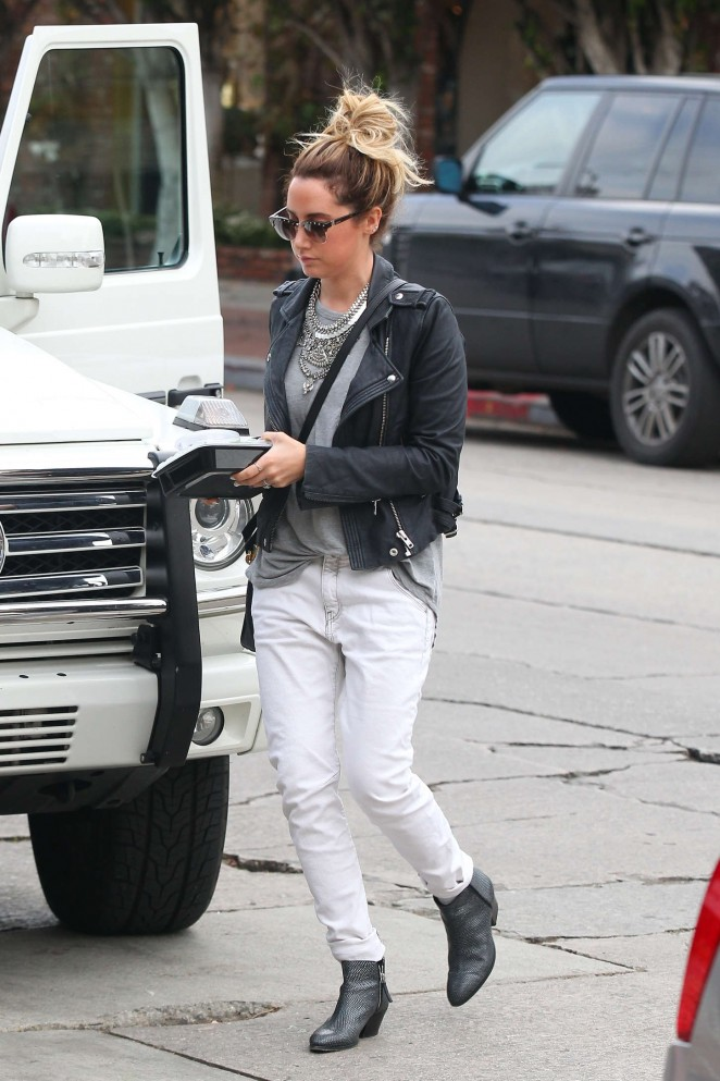 Ashley Tisdale in White Jeans Shopping in West Hollywood