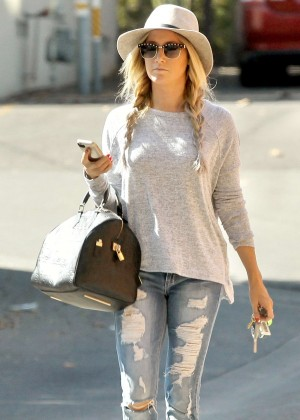 Ashley Tisdale in Ripped Jeans out in Studio City