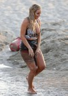 Aubrey O Day shoots some scenes for a music video on the beach in Santa Monica