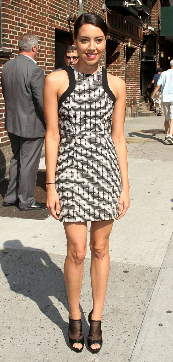 Aubrey Plaza - arrives in a short dress at Late Show with David Letterman New York