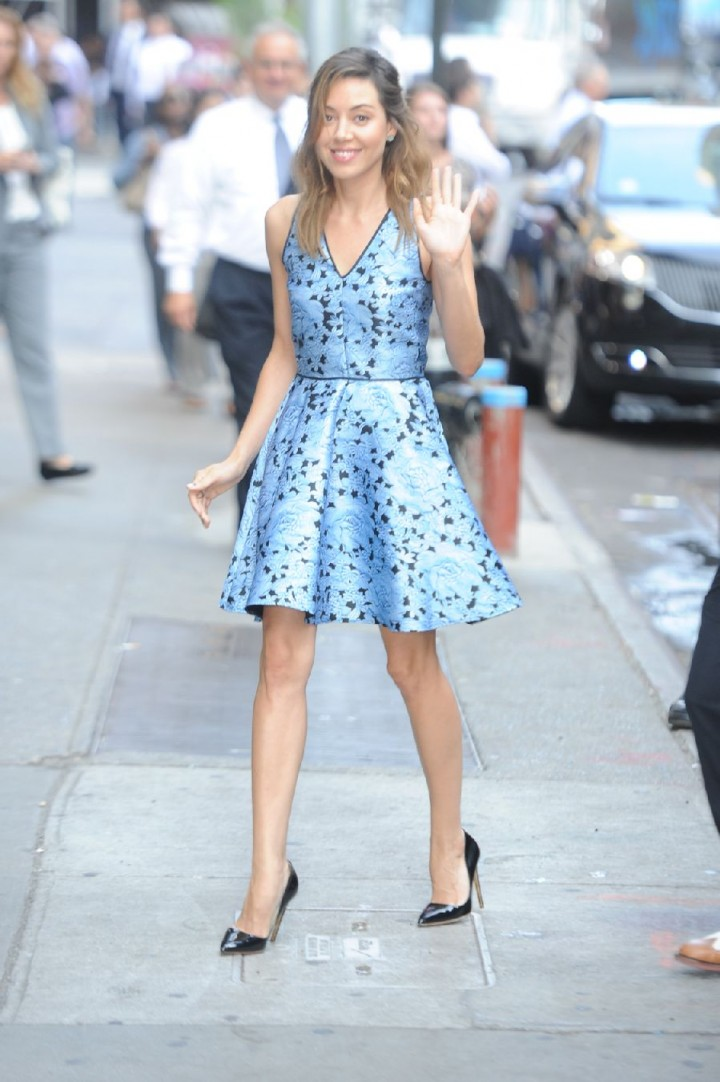 "Aubrey Plaza in Blue Dress on ""Good Morning America"" in NY"