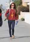 Audrina Patridge - In Jeans Walking her dog near the beach -01