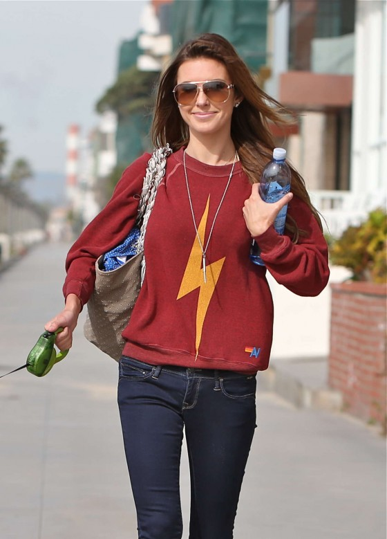 Audrina Patridge – In Jeans Walking her dog near the beach -09