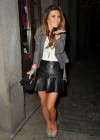 Audrina Patridge - Leggy in leather mini skirt at Saints & Sinners bar