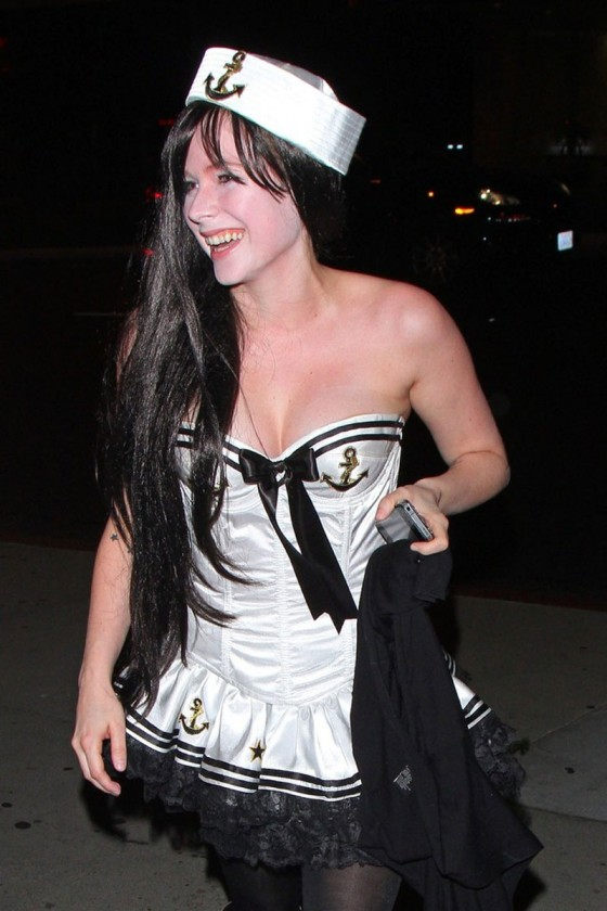 Avril Lavigne In Hot Sailor Costume at BOA Steakhouse in Beverly Hills