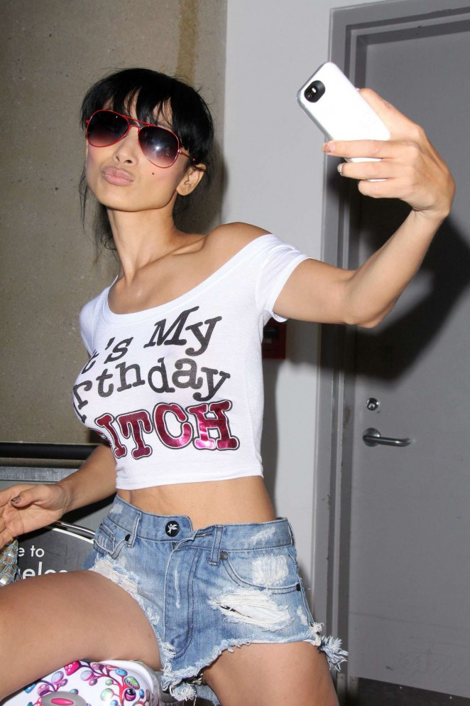 Bai Ling in Jeans Shorts at LAX -11