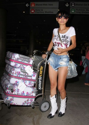 Bai Ling in Jeans Shorts at LAX Airport in LA