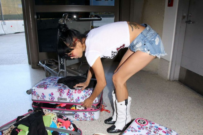 Bai Ling in Jeans Shorts at LAX -20