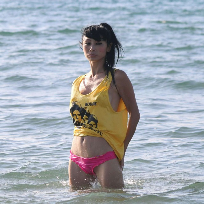 Bai Ling in Pink Bikini on Marina Del Rey Beach