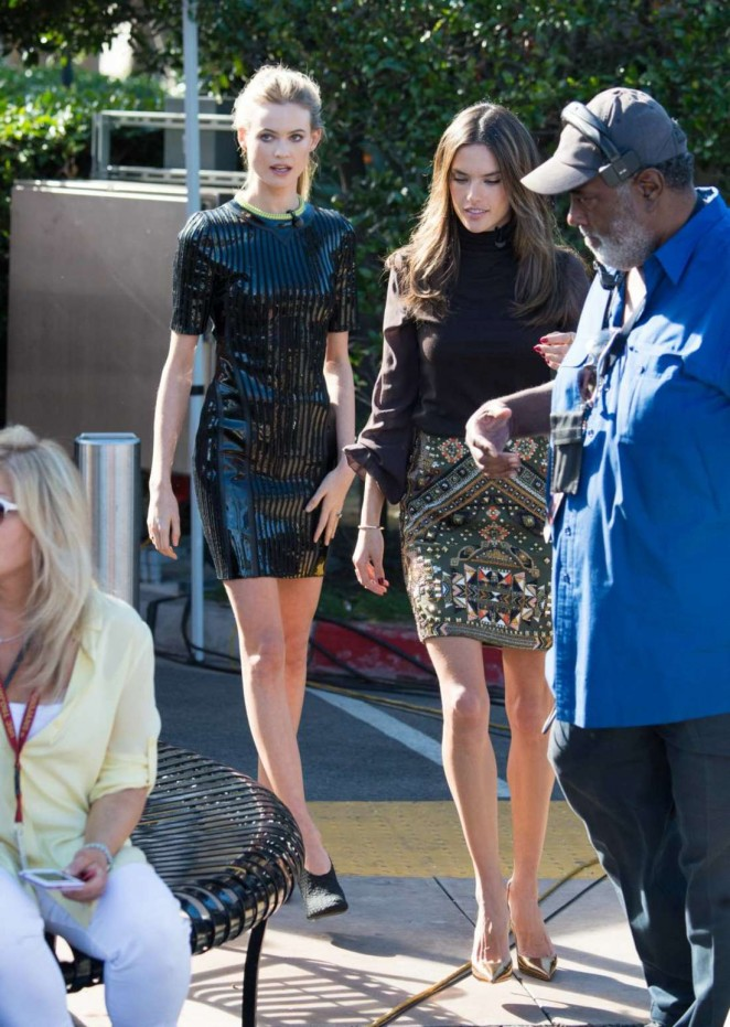 Behati Prinsloo & Alessandra Ambrosio on Extra Set in Universal City