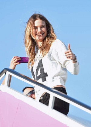 Behati Prinsloo - Departing For the London For 2014 Victoria's Secret Fashion Show