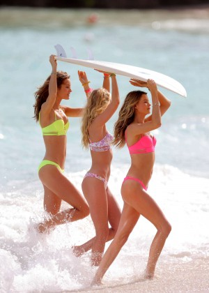 Behati Prinsloo, Monica Jagaciak and Elsa Hosk in Bikini - Victoria's Secret Swim at the Beach on The Caribbean