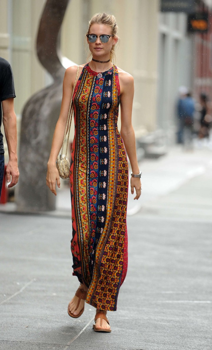 Behati Prinsloo in Long Dress Out in SoHo