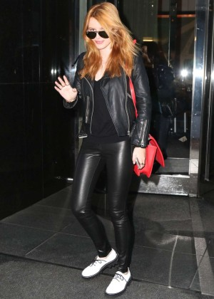 Bella Thorne in Leather Arriving at a studio in New York City