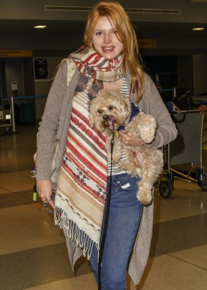 Bella Thorne in Jeans at JFK Airport in NYC