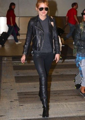 Bella Thorne in Leather at Airport in Chicago