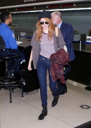 Bella Thorne in jeans at LAX -09