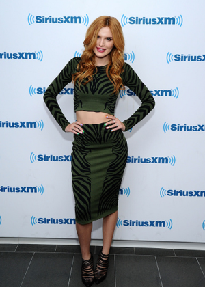 Bella Thorne in Green Dress at SiriusXM Studios in NYC