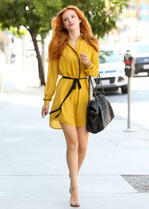Bella Thorne in Yellow Dress out in LA