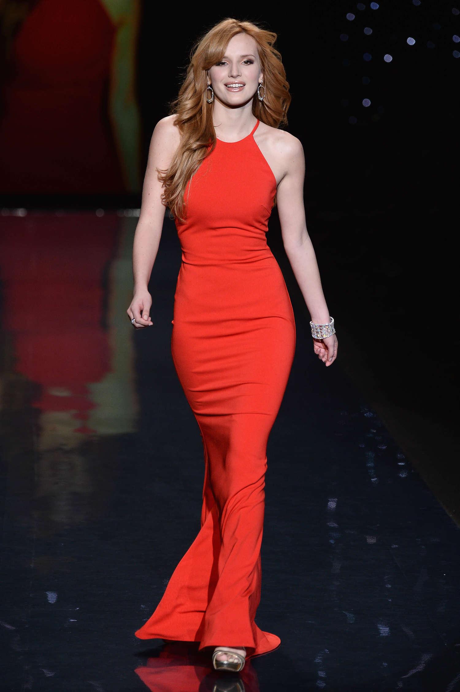 Bella Thorne 2014 Red Dress Fashion Show 02 Gotceleb