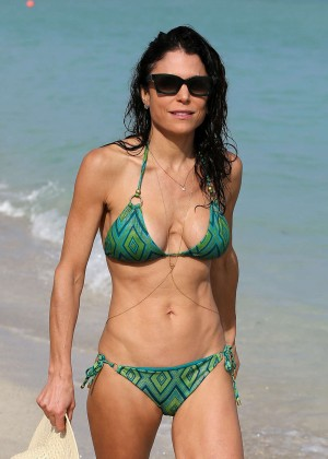 Bethenny Frankel in Green Bikini on Miami Beach