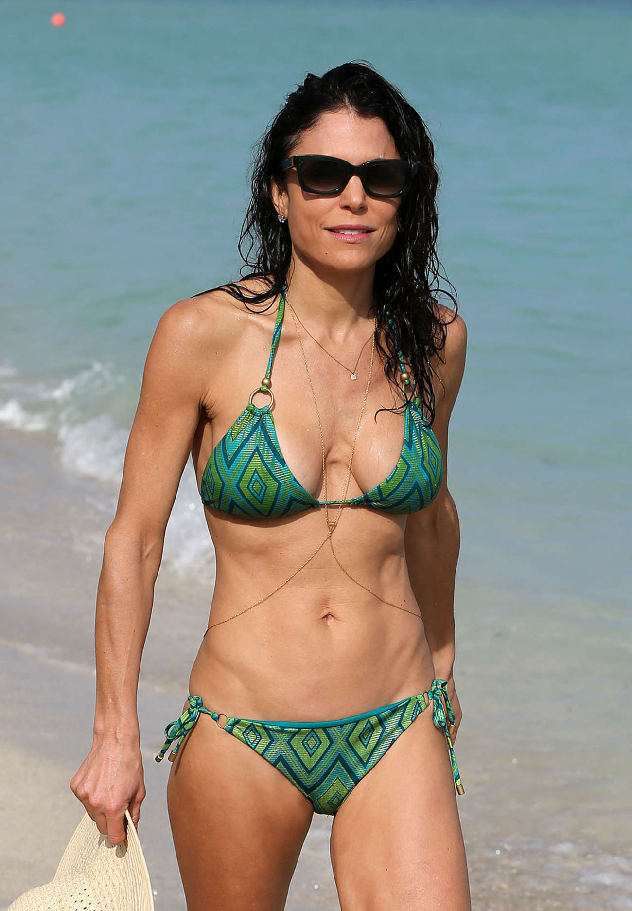 Bethenny Frankel in Green Bikini on Miami Beach