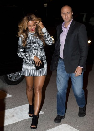 Beyonce in Mini Dress With Jay Z in Paris