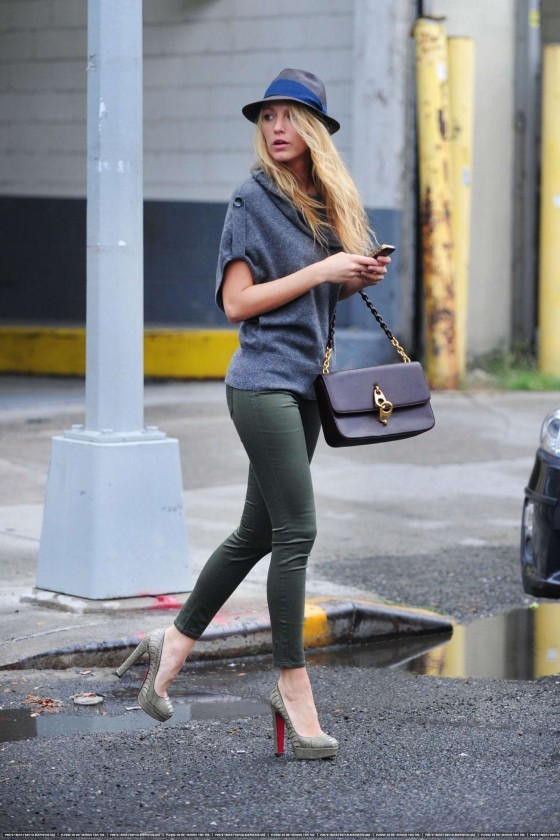 Blake Lively In Skinny Pants Out in New York
