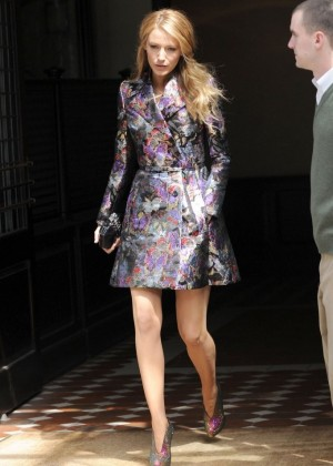 Blake Lively Leggy on street -11