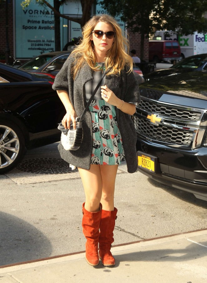 Blake Lively in Mini Dress out in New York City