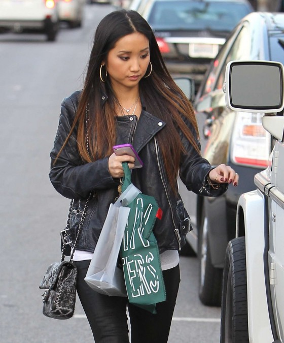 Brenda Song - Wearing Leather Pants out in Los Angeles