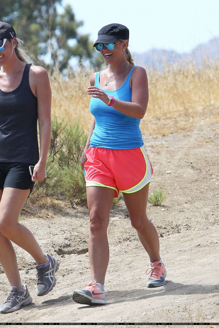 Britney Spears in Shorts Hiking in Calabasas