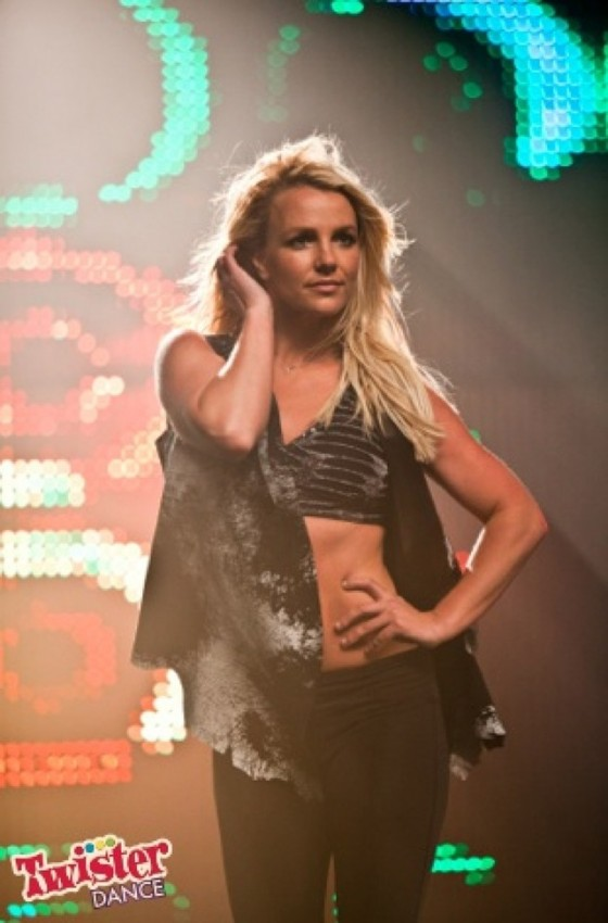 Britney Spears Showing her stomach on the set of  Twister Dance commercial
