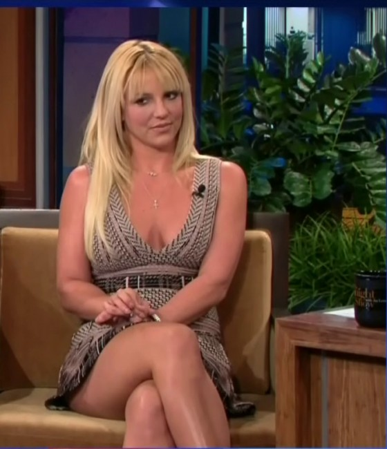 Britney Spears showing her cleavage and legs at The Tonight Show with Jay Leno in Burbank