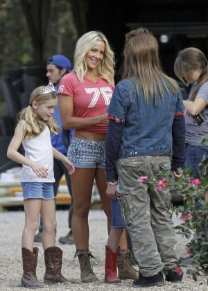 Brittany Daniel in Jeans Shorts on Joe Dirt 2 set -08