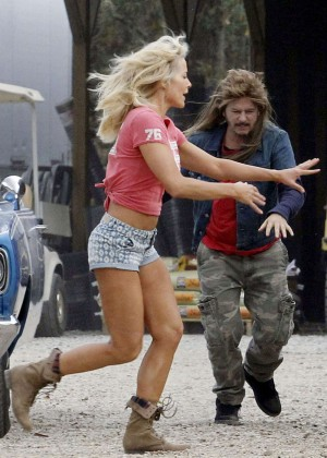 Brittany Daniel in Jeans Shorts on Joe Dirt 2 set -12