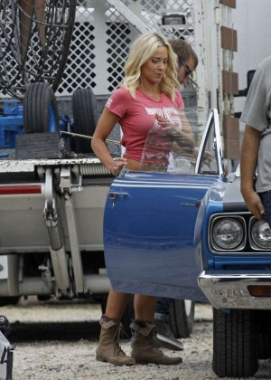 Brittany Daniel in Jeans Shorts on Joe Dirt 2 set -13