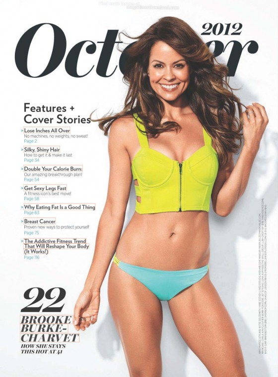 Brooke Burke cleavage in sports bra in Shape magazine